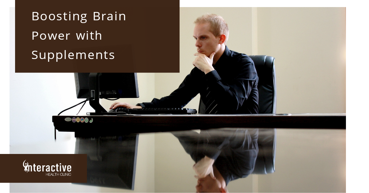 man concentrating at work. Supplements can help with focus